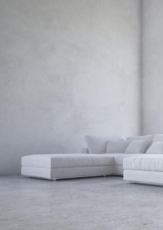 hormigon: Sala de estar minimalista interior con una suite de esquina tapizado en contra de un volumen doble descubierto en la pared gris moteado en un fondo arquitectónico