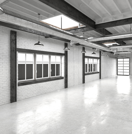 office lighting: Modern office atrium or hall with a shiny white floor reflecting overhead lights with a row of windows along one wall