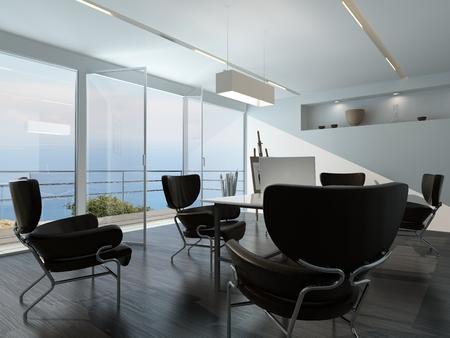 구석에 스탠드에 바다와 esasel 내려다 보이는 유리 벽 앞의 중앙 테이블 주위에 흩어져있는 안락 의자 현대 사무실 회의실 인테리어