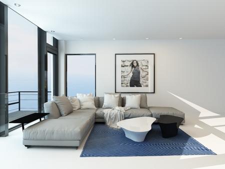modern interieur: Moderne waterkant woonkamer met een lichte luchtige lounge interieur met een comfortabele moderne gestoffeerde grijs suite, kunst aan de muur en een groot panoramisch raam uitzicht langs een muur met uitzicht op de oceaan