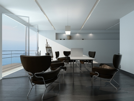 waterfront property: Modern office meeting room interior with stylish contemporary armchairs around a table, easel in the corner and large view window overlooking the sea
