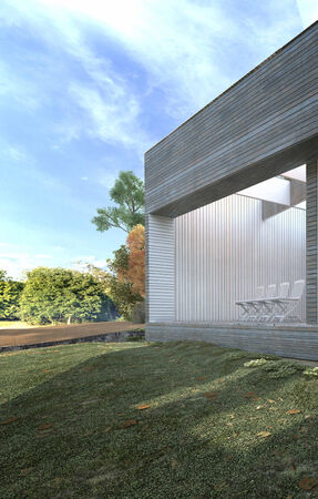 modern garden: Exterior of a block of modern offices or apartments in a lush garden with manicured lawns and trees