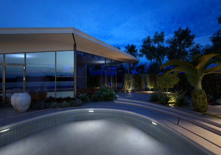 Nice Upmarket Modern Design House With A Glass Facade And Illuminated Swimming  Pool At Night With Plants