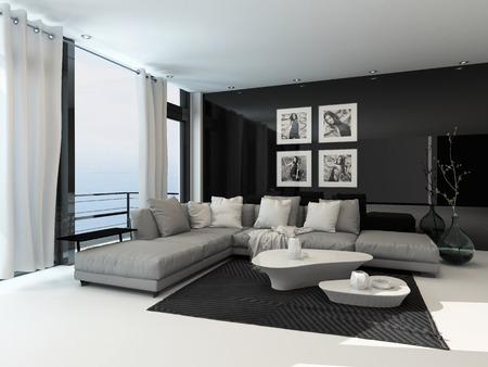modern interieur: Lounge interieur in een kust appartement met kamerhoge ramen met uitzicht op de zee, gordijnen, een comfortabele beige hoek lounge unit, tapijt en moderne salontafels met donkere accenten Stockfoto