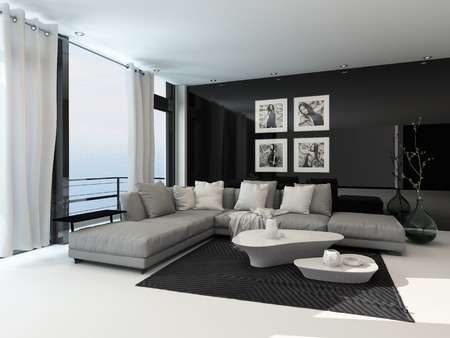 apartment interior: Lounge interior in a coastal apartment with floor to ceiling windows overlooking the sea, curtains, a comfortable beige corner lounge unit, carpet and modern coffee tables with dark accents
