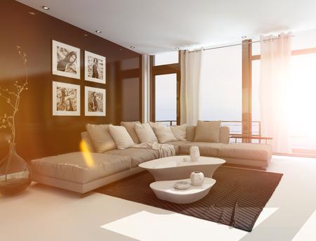 Pohodlný obývací pokoj interiér s čalouněným rohovou sedací soupravou, konferenční stolky a umělecká díla na stěnách v jasném slunečním světle s odlesk objektivu