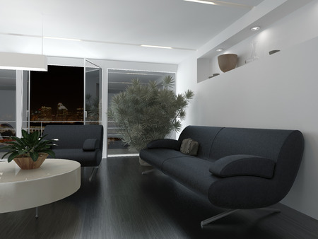 serviceable: Comfortable office waiting room interior decor with grey upholstered sofa and armchair around a low table in front of a large potted plant Stock Photo