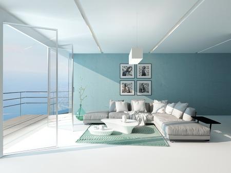 Luminoso arioso soggiorno con finestra panoramica dal pavimento al soffitto che si affaccia sul mare, arredato con un comodo bagno e parete accento acquamarina
