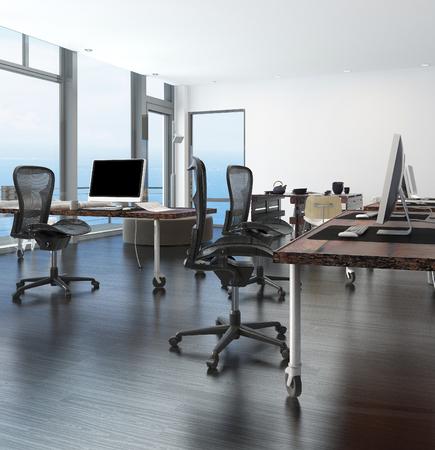 bureau design: Bureau � domicile dans un appartement du littoral avec des fen�tres enveloppantes verre au plafond donnant sur la mer et un poste de travail informatique de coin sur roues Banque d'images