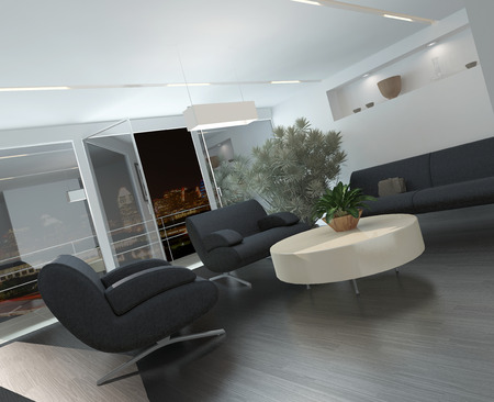 uncarpeted: Modern lounge or waiting room interior with comfortable armchairs and a sofa around a low table, a potted tree and recessed lighting