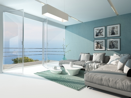 home accents: Luxury waterfront apartment living room with a floor-to-ceiling glass window overlooking the ocean with patio doors and an aquamarine accented side wall and carpet