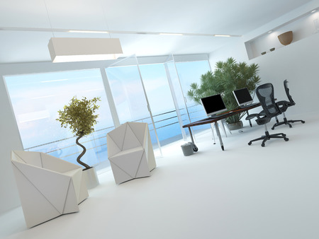 Modern waterfront office interior with a computer workstation and chairs in front of a large floor-to-ceiling glass window overlooking the sea and a large potted plant in the corner photo