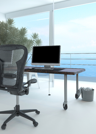Modern waterfront office interior with a computer workstation and chair in front of a large floor-to-ceiling glass window overlooking the sea and a large potted plant in the corner
