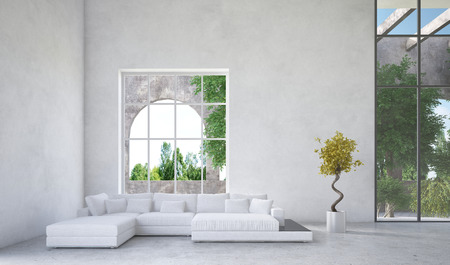 arden: Luxury condominium living room interior with an upholstered white suite in front of a large arched window overlooking a arden or greenery and mottled grey decor Stock Photo