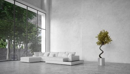 cổ điển: Lớn, hiện đại nội thất phòng khách tối giản với trần khối lượng gấp đôi và cửa sổ kính lớn nhìn ra cây