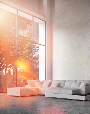 living unit: Modern living room interior with bright sun flare through a floor-to-ceiling glass wall bathing a comfortable corner unit lounge suite in bright light