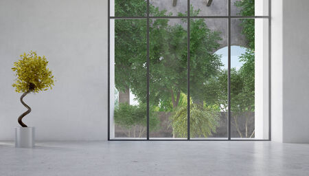 Large floor-to-ceiling glass window in a white wall overlooking a courtyard with plants with a decorative indoor plant with twirling stem alongside photo