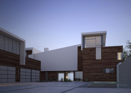 Modern contemporary house facade with an exterior courtyard in evening light with vignetting photo