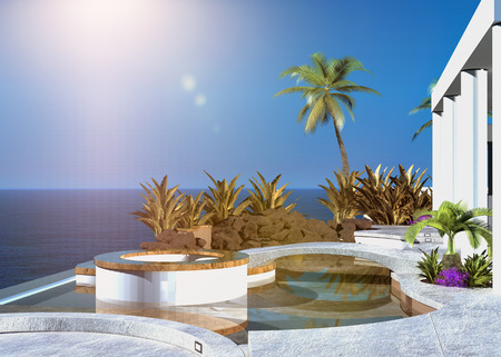 Modern tropical outdoor patio overlooking the sea with built in seating and palm trees under a hot summer sun in a clear blue sky photo