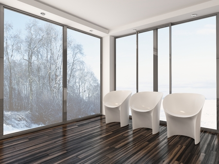 uncarpeted: Three modern modular white chairs standing in a row on a wooden paquet floor in front of large glass view windows overlooking a winter garden