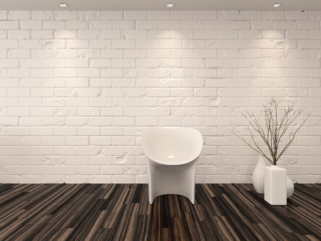 recessed: Single modern white chair against a whitewashed brick wall with vase ornaments and recessed overhead down lights illuminating a hardwood parquet floor