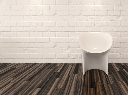Single modern white chair against a whitewashed brick wall and recessed overhead down lights illuminating a hardwood parquet floor photo