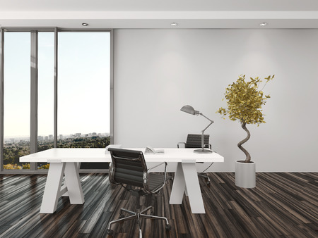 front office: Modern home office interior design with two office chairs on either side of a white desk in front of floor-to-ceiling view windows overlooking a city with a decorative potted tree Stock Photo