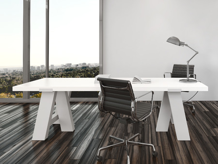 muebles de oficina: Diseño interior de la oficina en casa moderna con dos sillas de oficina a cada lado de un escritorio blanco en frente de las ventanas de vista de piso a techo con vista a la ciudad
