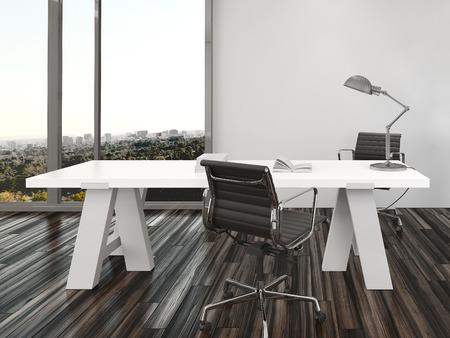 modern interieur: Moderne kantoor interieur ontwerp met twee bureaustoelen aan weerszijden van een wit bureau in de voorkant van het oog ramen van vloer tot plafond met uitzicht op een stad