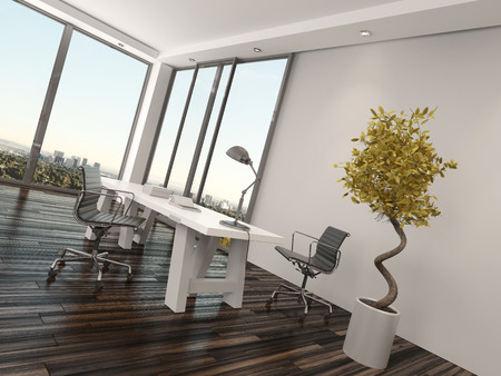home office interior: Modern home office interior design with two office chairs on either side of a white desk in front of floor-to-ceiling view windows overlooking a city with a decorative potted tree Stock Photo