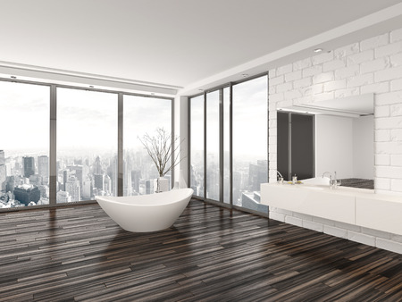 uncarpeted: Modern white minimalist bathroom interior with a freestanding bath tub and recessed wall alcove with wrap around floor-to-ceiling view windows overlooking a town
