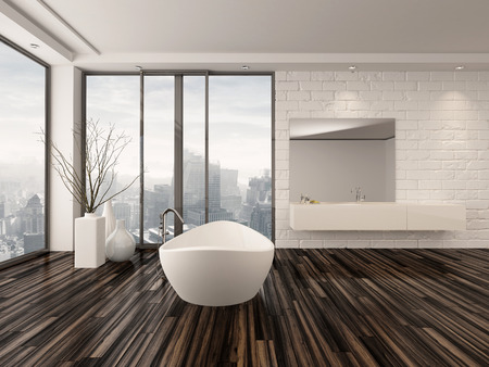 Modern white minimalist bathroom interior with a freestanding bath tub and recessed wall alcove with wrap around floor-to-ceiling view windows overlooking a town photo