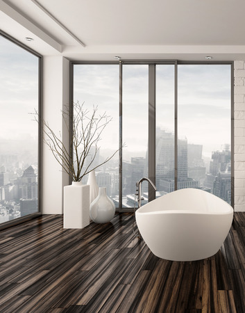 Modern bathroom interior with a freestanding white bathtub on a natural  wood parquet floor in front