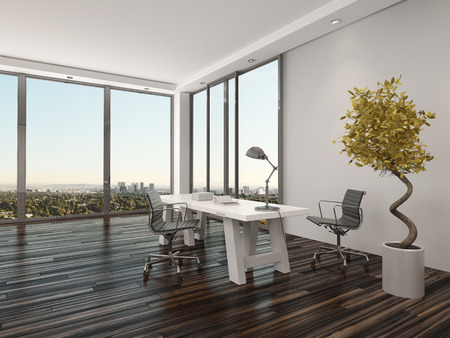 front desk: Modern home office interior design with two office chairs on either side of a white desk in front of floor-to-ceiling view windows overlooking a city with a decorative potted tree Stock Photo