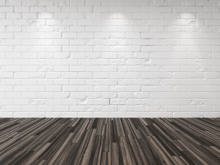 down lights: Empty whitewashed brick room with recessed down lights illuminating the brick wall and a hardwood parquet floor in an architectural and interior design background