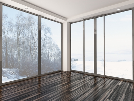 interior spaces: Empty room with floor to ceiling windows and snow landscape view
