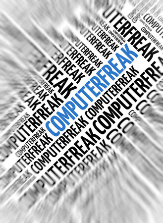 dweeb: German marketing background - Computerfreak (nerd) - blur and focus