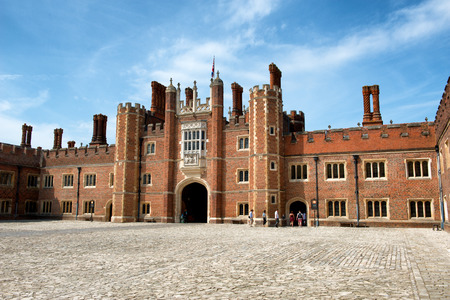 middlesex: Main Court at Hampton Court Palace. Hampton Court Palace is a royal palace in the London Borough of Richmond upon Thames, Greater London, in the historic county of Middlesex