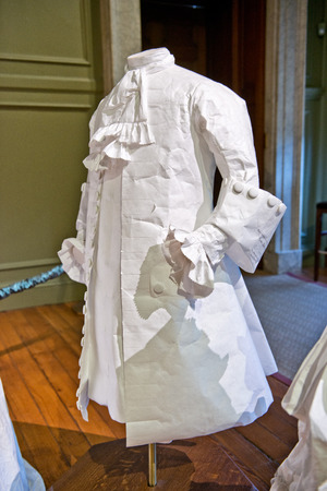 frock coat: White baroque style female dress at Hampton Court Palace near London Editorial