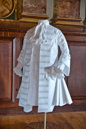 frock coat: White baroque style clothes at Hampton Court Palace near London