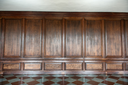panelling: Old medieval wood paneling covering a wall in a historical country house with a diamond pattern marble floor, background image with nobody