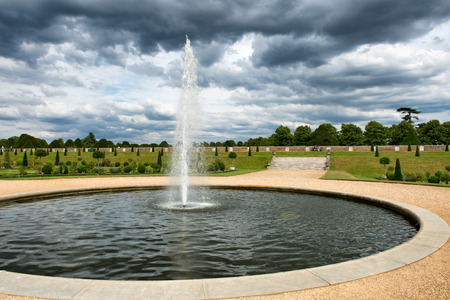 privy: The Privy Garden with fountain and pond at Hampton Court Palace near London, UK