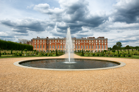 The Privy Garden with fountain and pond at Hampton Court Palace near London, UK