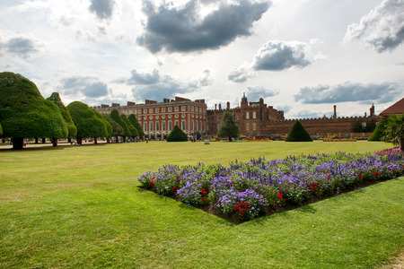 viii: Great Fountain Garden and Hampton Court Palace near London, UK Editorial