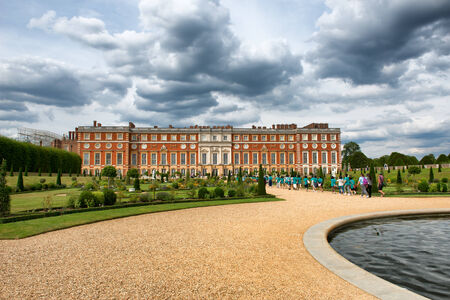 viii: The Privy Garden with pond at Hampton Court Palace near London, UK