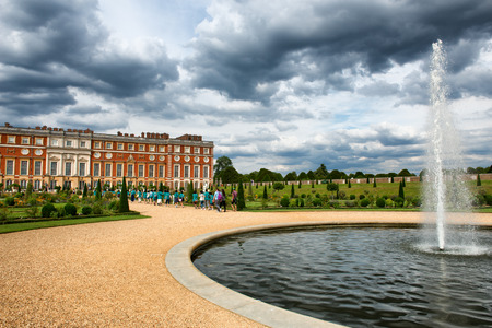 privy: The Privy Garden with pond at Hampton Court Palace near London, UK