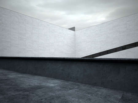 wall angle corner: Architectural White Walls at House Roof Top Area