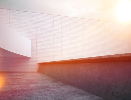 wall angle corner: Sunset at Architectural House Roof Top Area. Inspired by Black and White Color Stock Photo