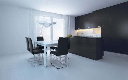 dining table and chairs: Elegant Black and White Dining Area with Pure Black and White Walls Stock Photo