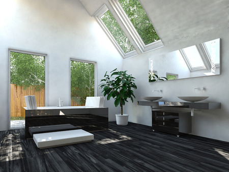 fittings: Elegant Black Flooring Living Room with White and Glass Walls